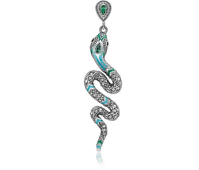 Blackened Sterling Silver, Enamel and Glass-ceramic Stones Snake Earring - Thomas Sabo