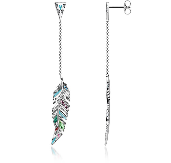 Blackened Sterling Silver, Enamel and Glass-ceramic Stones Feathers Long Earrings - Thomas Sabo