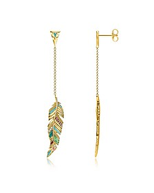 Gold Plated Sterling Silver, Enamel and Glass-ceramic Stones Feather Long Earrings - Thomas Sabo