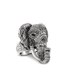 Glam & Soul - Bague Éléphant en Argent Noirci avec Pavé d'Oxydes de Zirconium Noirs et Onyx - Thomas Sabo