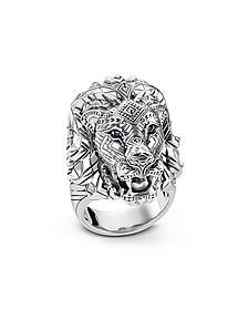 Blackened Sterling Silver Lion Ring w/Black Zirconia Pavè - Thomas Sabo