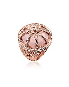 18k Rose Gold Plated Sterling Silver Ring w/White Zirconia and Rose Quartz - Thomas Sabo