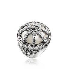 Blackened Sterling Silver & Mother of Pearl Ring w/White Cubic Zirconia - Thomas Sabo