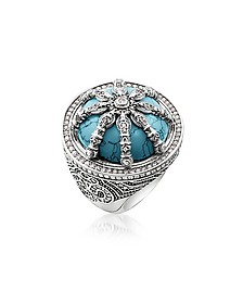 Blackened Sterling Silver & Synthetic Turquoise Ring w/White Cubic Zirconia - Thomas Sabo