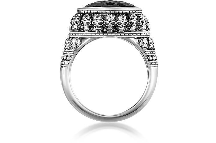df5fd97536ba Thomas Sabo Rebel Skulls Sterling Silver Ring w Onyx USA 8