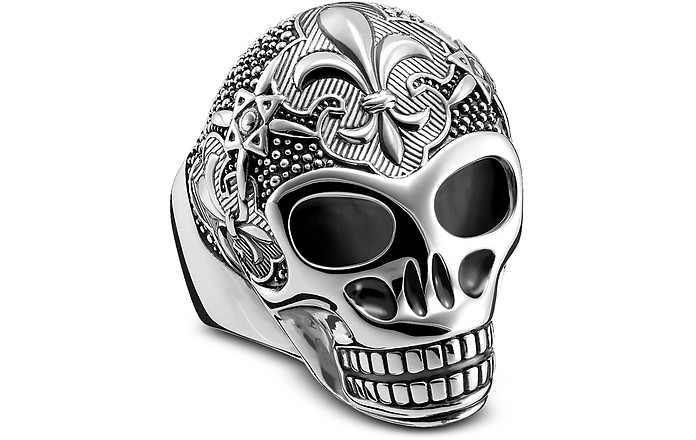 Sterling Silver Lily Skull Ring - Thomas Sabo