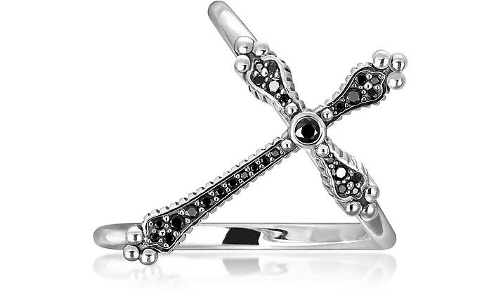 Royalty Cross Ring w/Black Stones - Thomas Sabo
