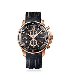 Rebel Race Rose Gold Stainless Steel Men's Chronograph Watch w/Black Leather Strap - Thomas Sabo