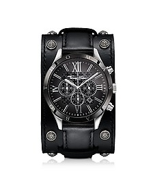 Rebel Icon Silver Stainless Steel Men's Chronograph Watch w/Black Leather Strap - Thomas Sabo