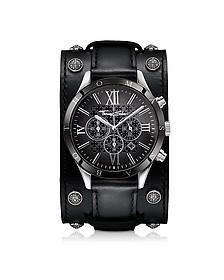 Rebel Icon - Montre Chronographe Homme en Acier Inoxydable Argent avec Large Bracelet en Cuir Noir - Thomas Sabo