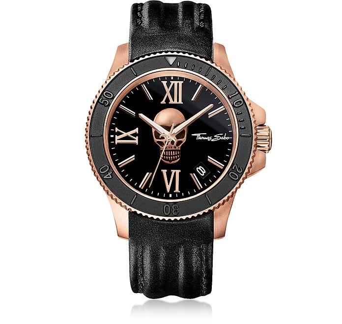 Rebel Icon Rose Gold Stainless Steel Men's Watch w/Black Leather Strap - Thomas Sabo