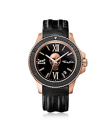 Rebel Icon Rose Gold Stainless Steel Men's Watch w/Black Leather Strap - Thomas Sabo