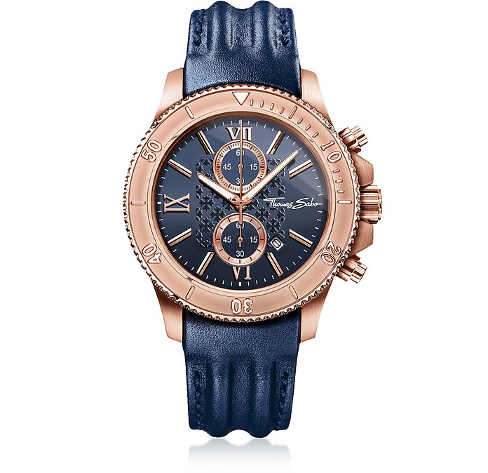 f491b96b82efc5 Rebel Race Rose Gold Stainless Steel Men's Chronograph Watch w/Blue Leather  Strap - Thomas