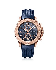 Rebel Race - Montre Chronographe Homme en Acier Inoxydable Or Rose avec Bracelet en Cuir Bleu - Thomas Sabo