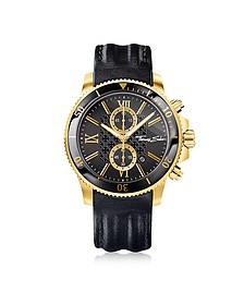 Rebel Race Gold Stainless Steel Men's Chronograph Watch w/Black Leather Strap - Thomas Sabo