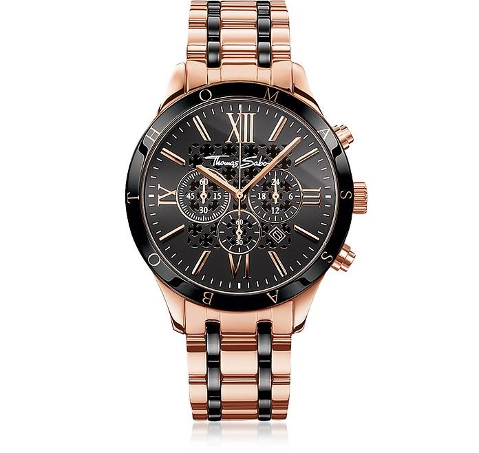 Rebel Urban Rose Gold Stainless Steel and Black Ceramic Men's Chronograph Watch - Thomas Sabo