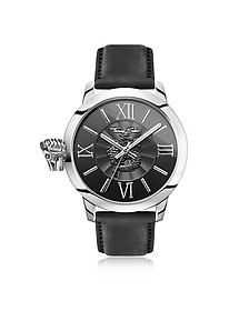 Rebel With Karma Silver Stainless Steel Men's Watch w/Black Leather Strap - Thomas Sabo