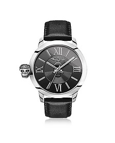 Rebel With Karma Silver Stainless Steel and Black Leather Strap Men's Watch - Thomas Sabo