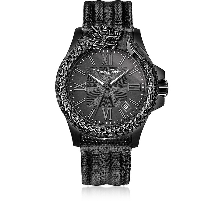 Rebel Icon Black Stainless Steel Men's Watch w/Lizard Embossed Leather Strap - Thomas Sabo