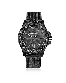 Rebel Icon Black Stainless Steel Men's Watch w/Lizard Embossed Leather Strap - Thomas Sabo