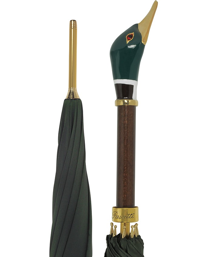 Green Men's Umbrella w/Mallard Handle - Pasotti