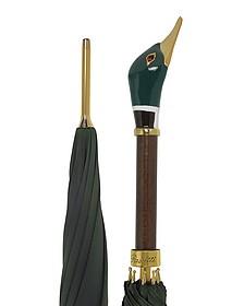 Green Men's Umbrella w/Mallard Handle - Pasotti
