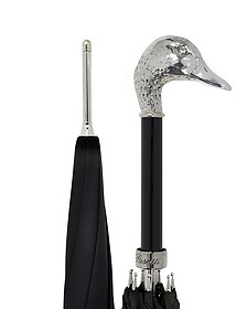 Black Unisex Umbrella w/Silvertone Mallard Handle - Pasotti