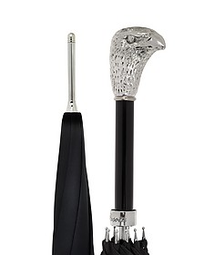 Black Unisex Umbrella w/Silvertone Eagle Handle - Pasotti