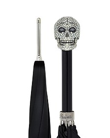 Black Women's Umbrella w/Swarovski Crystals Silvertone Skull Handle - Pasotti
