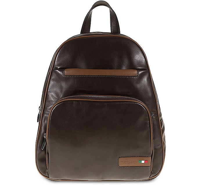 Two-Tone Leather Mens Backpack - Tuscan's