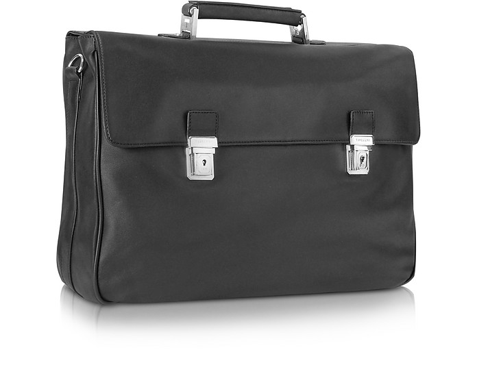 Polo - Black Double Gusset Nappa Leather Briefcase - Tavecchi