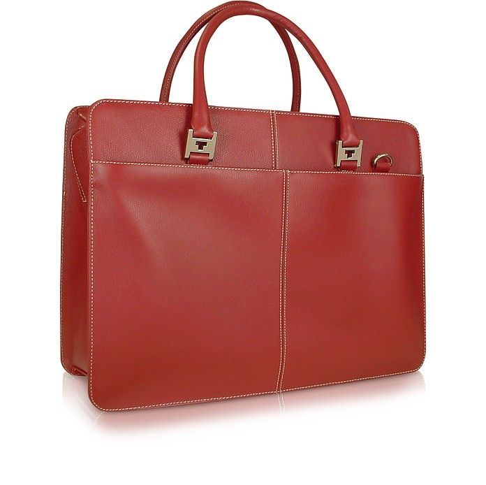 Rialto - Dark Red Leather Laptop Case w/Removable Sleeve - Tavecchi
