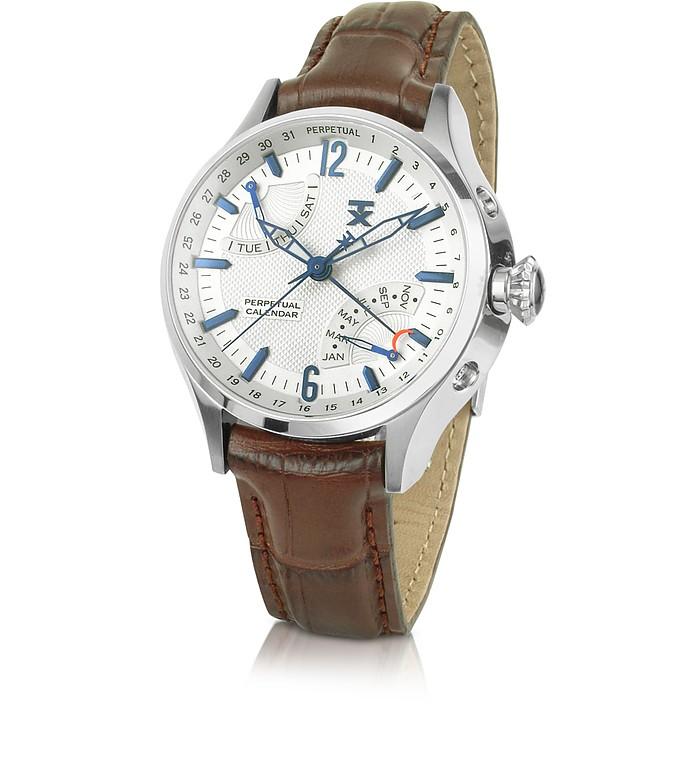 Perpetual Calendar 300 Series - Men's Brown Croc Strap Watch - TX Technoluxury