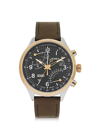 Fly Back Chrono Stainless Steel Case and Leather Strap Men's Watch - Timex