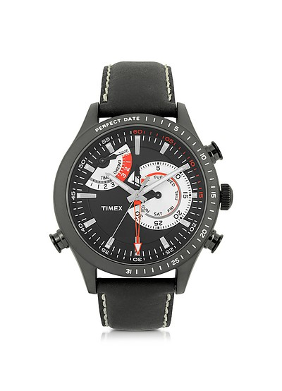 Chrono Timer Black Stainless Steel Case and Leather Strap Men's Watch - Timex
