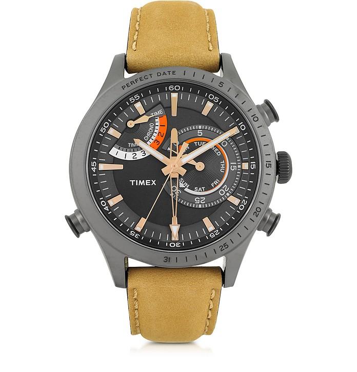 Chrono Timer Reloj para Hombre de Acero Inoxidable Gris, Correa de Cuero y Cronógrafo - Timex
