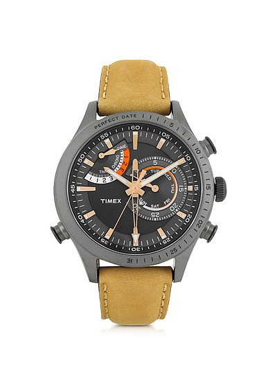 Chrono Timer Gray Stainless Steel Case and Tan Leather Strap Men's Watch - Timex
