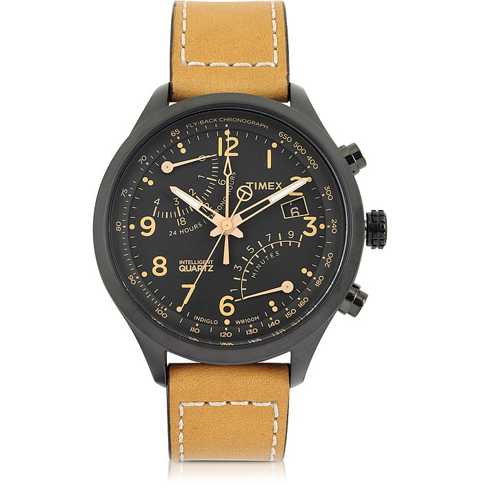 Fly Back Chrono Black Stainless Steel Case and Tan Leather Strap Men's Watch - Timex