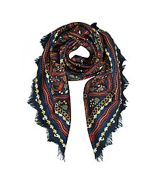 Crocodile Fringed Silk Square Scarf - Tory Burch