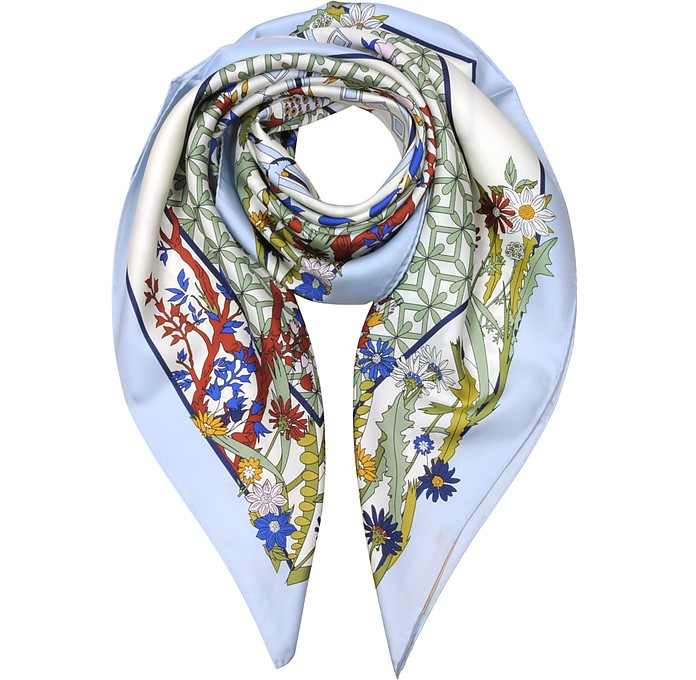 Meadow Folly Silk Square Scarf  - Tory Burch