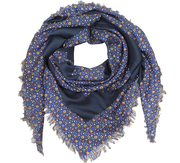 Wool Wild Pansy Logo Square Scarf  - Tory Burch