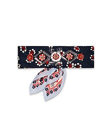 Floral Print Embellished Cotton Bandana Necktie - Tory Burch