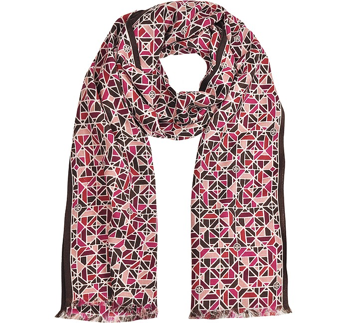 Oblongs Allover Fret Scarf - Tory Burch