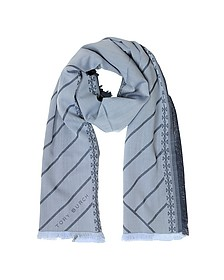 Diagonal Stripes and Signature Double T Logo Fringed Scarf  - Tory Burch