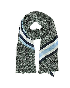 Gemini Link Striped Oblong Wool Scarf - Tory Burch
