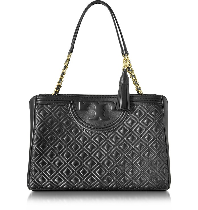 Tory Burch Black Fleming Quilted Leather Open Shoulder Bag at FORZIERI