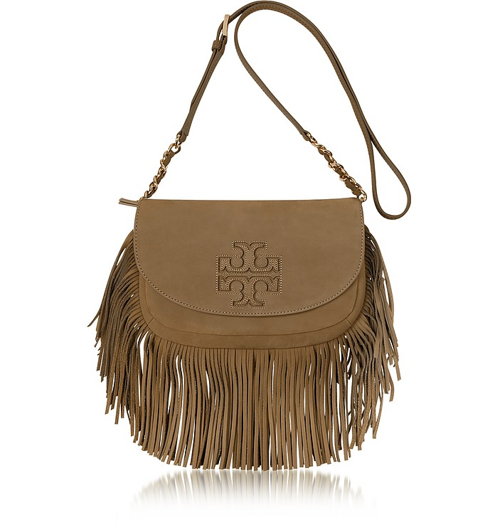Harper Fringe Otter Brown Leather Mini Crossbody Bag - Tory Burch