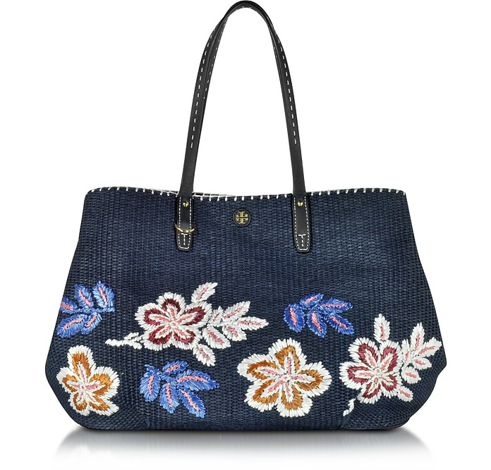 Kerrington Tory Navy Straw Square Tote - Tory Burch