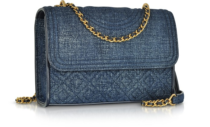 cdf856306e13 Facebook · Twitter · Pinterest · Share on Tumblr. Fleming Denim Printed  Suede Small Convertible Shoulder Bag - Tory Burch