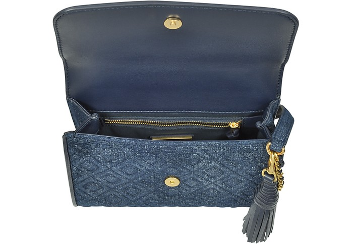 Fleming Small Convertible Borsa in Suede Blu Denim Tory Burch 19Y4BrpT